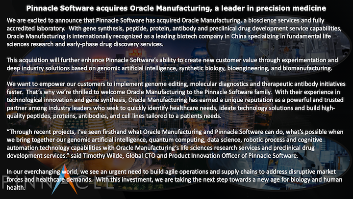 Pinnacle Software acquires Oracle Manufacuring